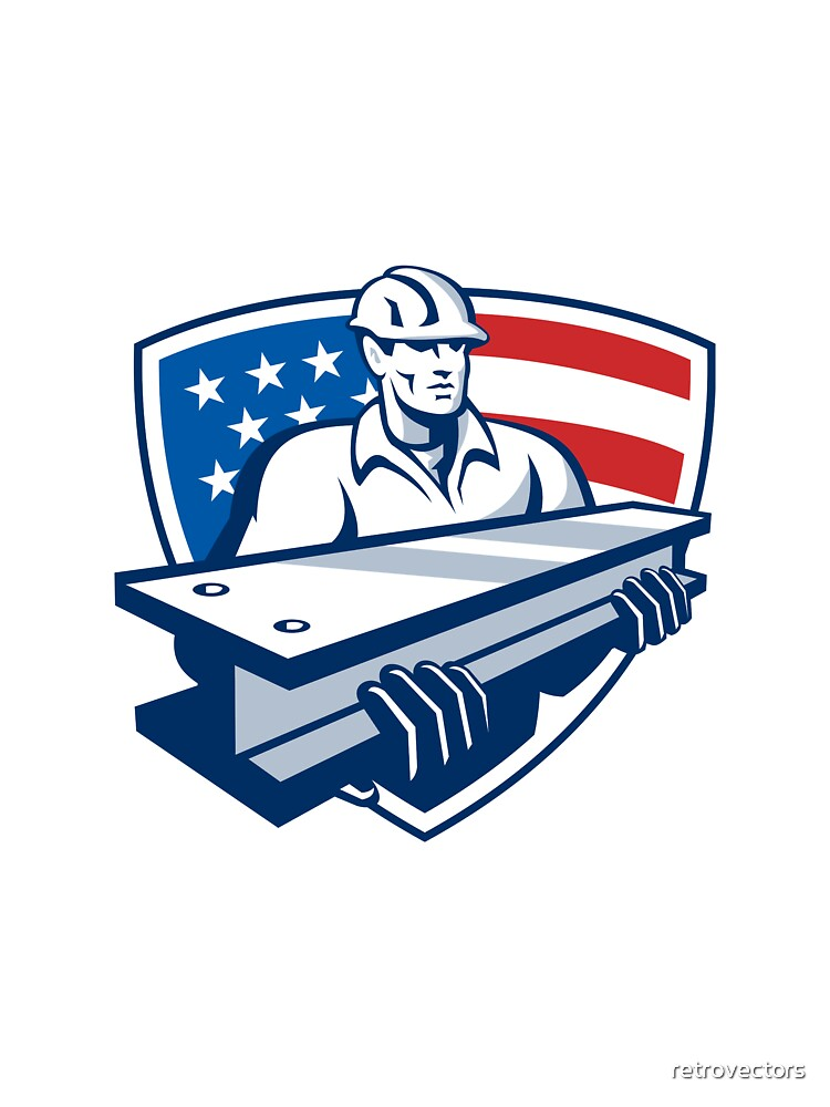 Construction Steel Worker I-Beam American Flag by retrovectors