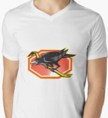 Crow Perching on Crowbar Retro Men's V-Neck T-Shirt