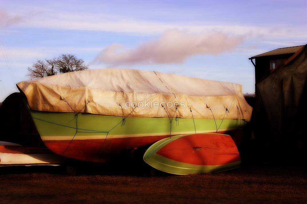 Red and Green Boat Docked in Woodbridge, UK by cookiedoes