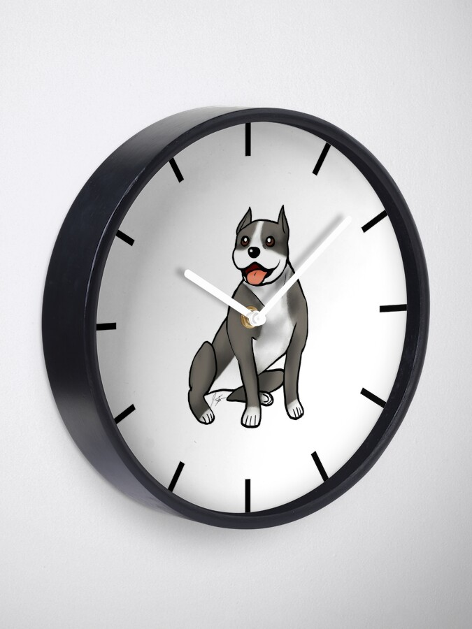 Alternate view of American Staffordshire Terrier - Black and White Clock