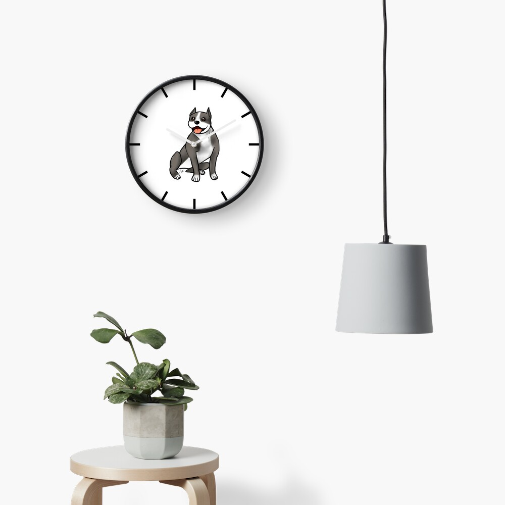 American Staffordshire Terrier - Black and White Clock