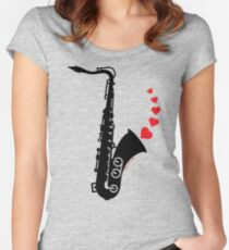 Sax and Love Fitted Scoop T-Shirt