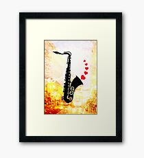Sax and Love Framed Print