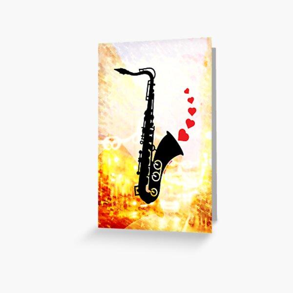 Sax and Love Greeting Card