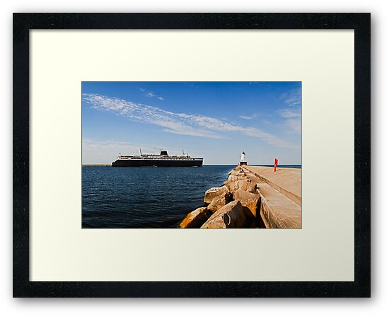 Save the Badger! Steamer Passing Lighthouse by Kenneth Keifer