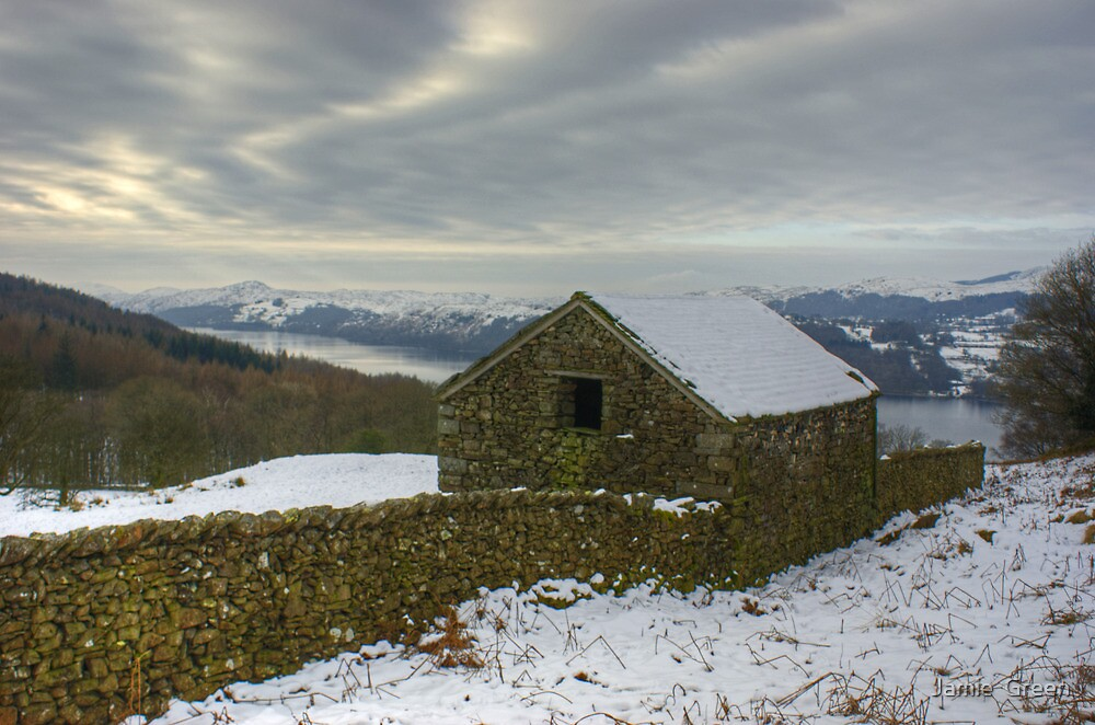 The Barn In Winter by Jamie  Green
