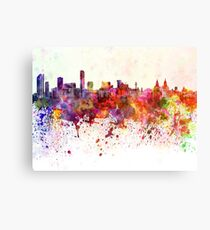 Liverpool skyline in watercolor background Canvas Print