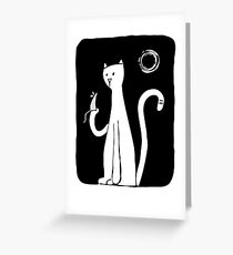 Cat & Mouse - Black Greeting Card