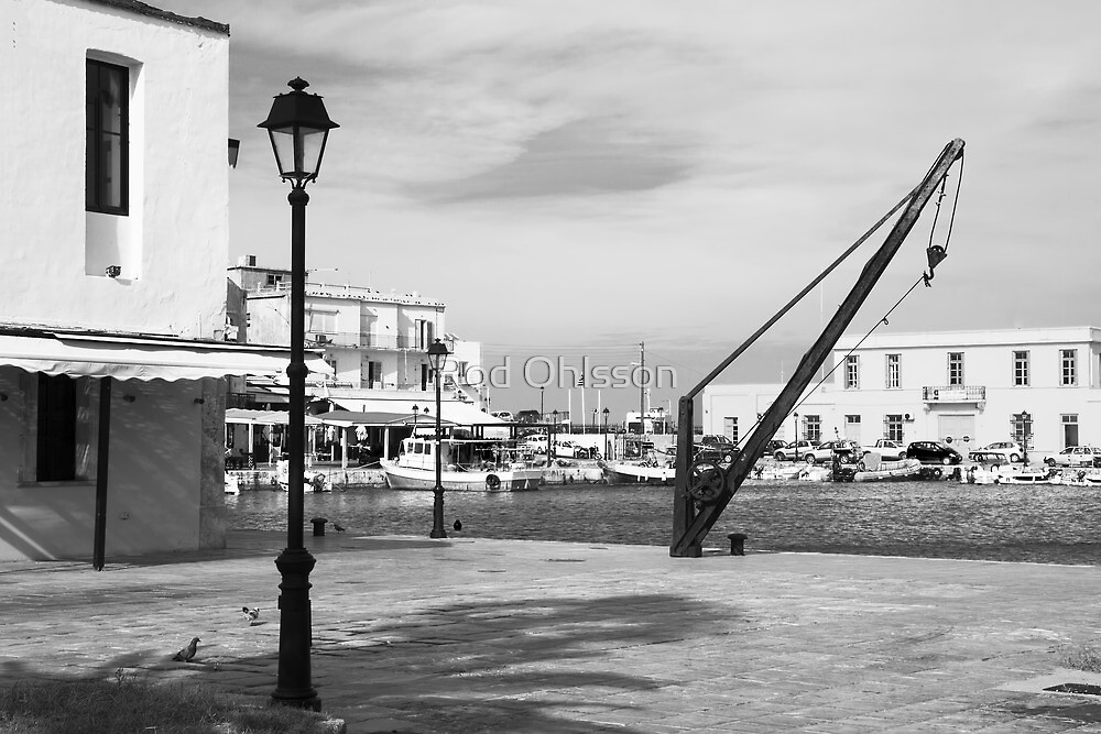Rethymno harbour mono by Rod Ohlsson