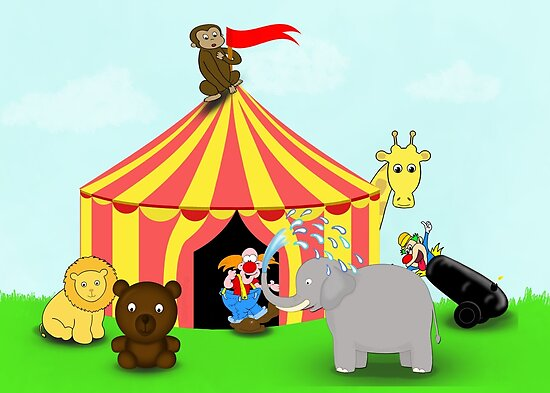 Quot Fun Cartoon Circus Scene Quot Posters By Artformdesigns