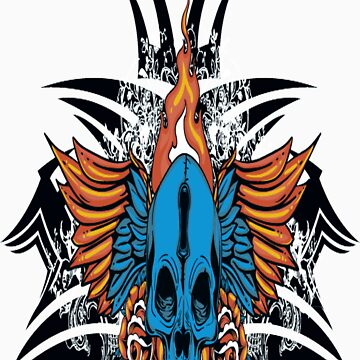 Skull on Fire T-Shirt by Emporium