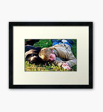 dog and child Framed Print
