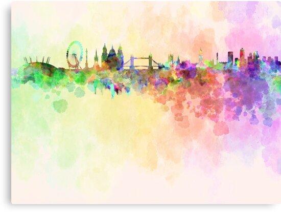 London skyline in watercolor background by paulrommer