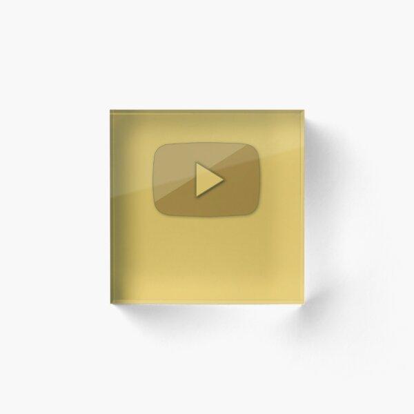 Youtube Gold Bottom. One million subscribers. Acrylic Block