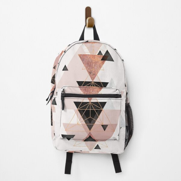 Geometric Triangles in blush and rose gold Backpack