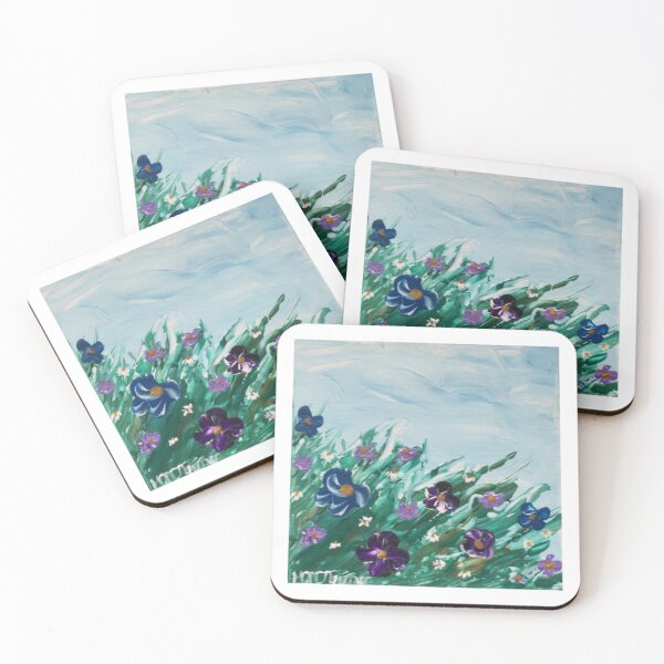 Abstract Pansies and Daisies Coasters (Set of 4)