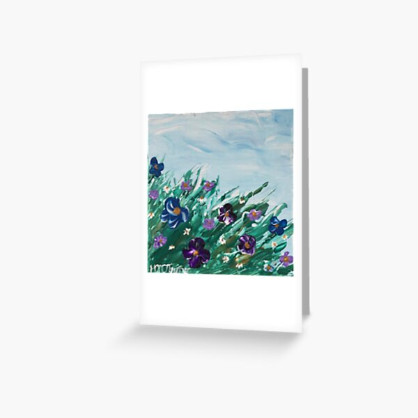 Abstract Pansies and Daisies Greeting Card
