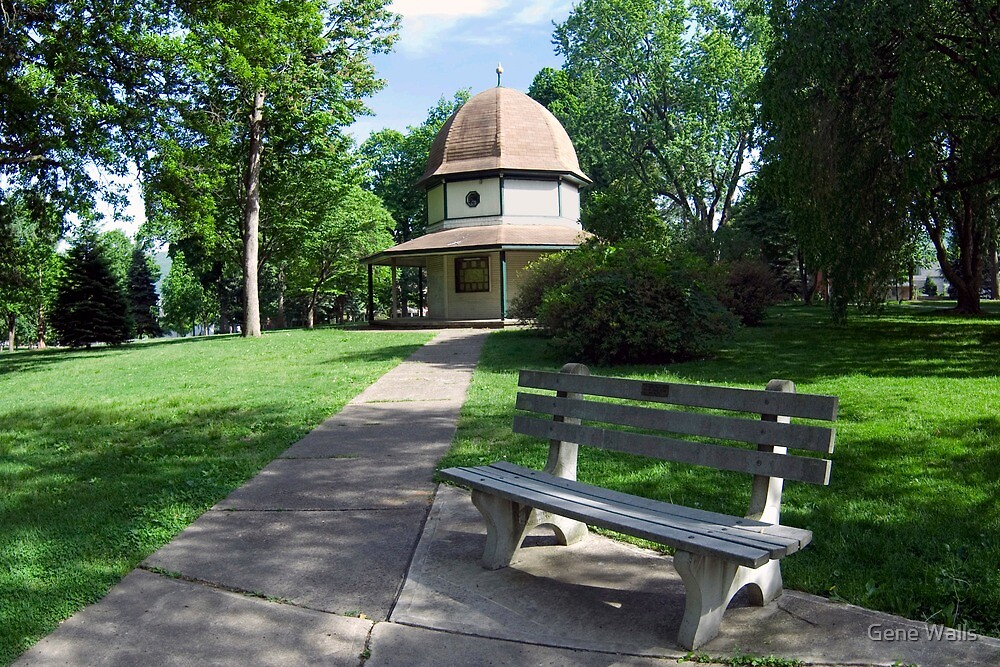 Brandon Park Sidewalk, Gazebo & Bench by Gene Walls