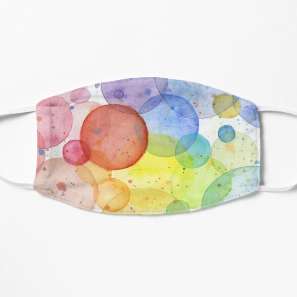 Geometric Watercolor Abstract Rainbow Circles Mask