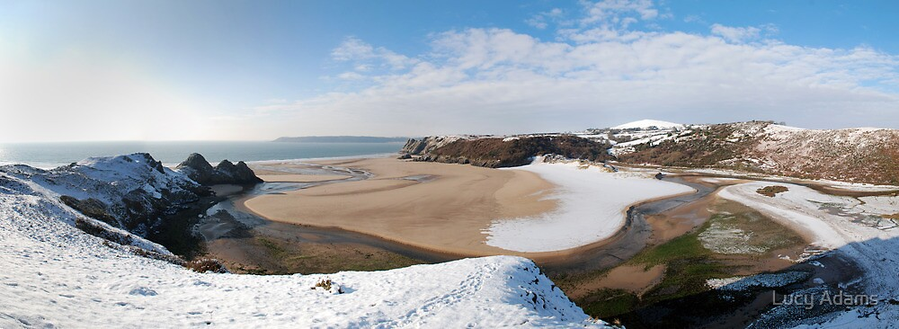 Three Cliffs in Snow by Lucy Adams