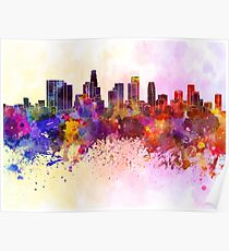 Los Angeles skyline in watercolor background Poster