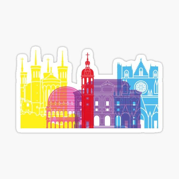 Lyon skyline pop Sticker