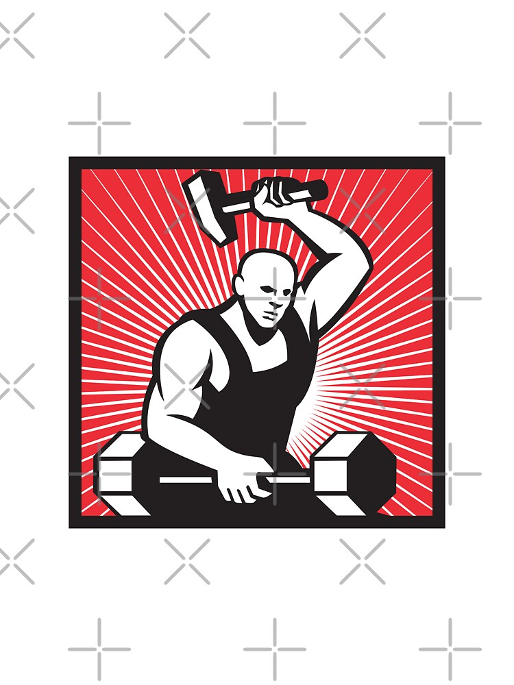 Blacksmith With Hammer Striking Barbell by patrimonio