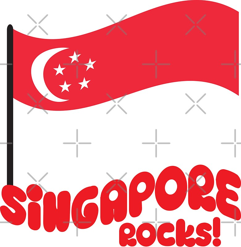 Singapore rocks with waving flag by jazzydevil