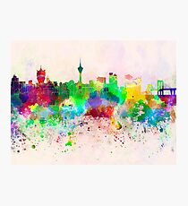 Macau skyline in watercolor background Photographic Print