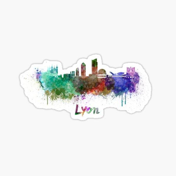 Skyline de Lyon à l'aquarelle Sticker