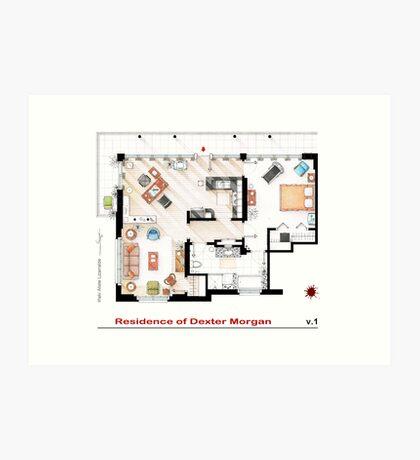 Floorplan of the apartment of Dexter Morgan v.1 Art Print