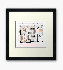 Floorplan of the apartment of Dexter Morgan v.1 Framed Print
