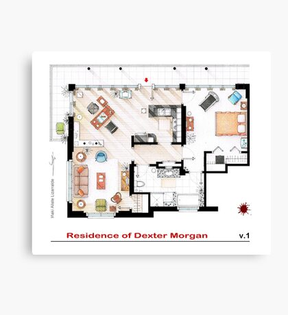 Floorplan of the apartment of Dexter Morgan v.1 Canvas Print