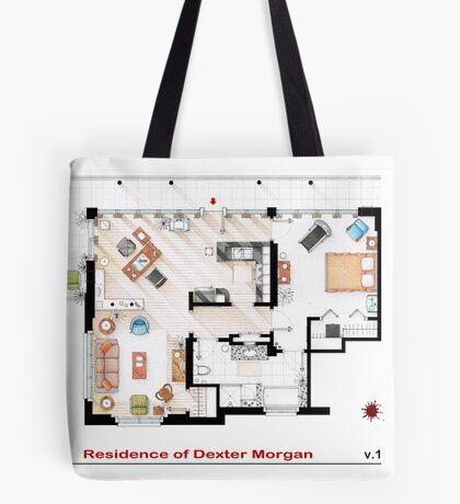 Floorplan of the apartment of Dexter Morgan v.1 Tote Bag