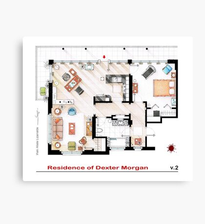 Floorplan of the apartment of Dexter Morgan v.2 Canvas Print