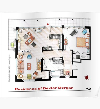 Floorplan of the apartment of Dexter Morgan v.2 Poster