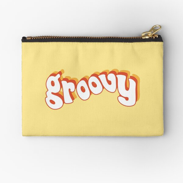 Groovy Retro Orange and Yellow Zipper Pouch
