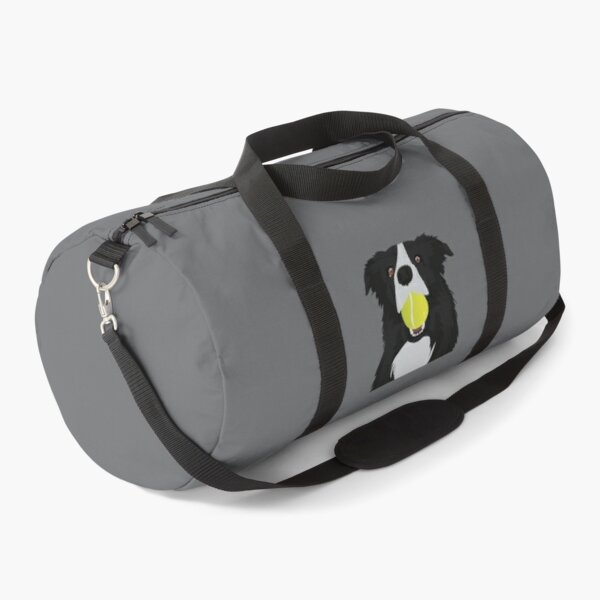 Border Collie with a Tennis Ball Duffle Bag