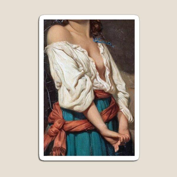 Ung kvinna i landskap by Charles Zacharie Landelle - Cropped Magnet