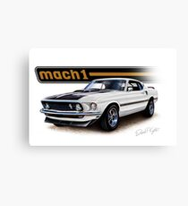 1969 Mustang Mach 1 in White Canvas Print