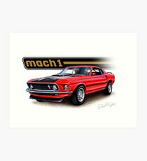 1969 Mustang Mach 1 in Red Art Print