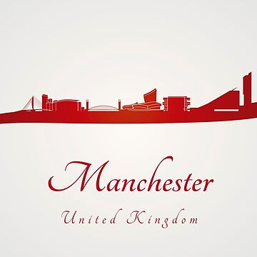 Manchester skyline in red by paulrommer