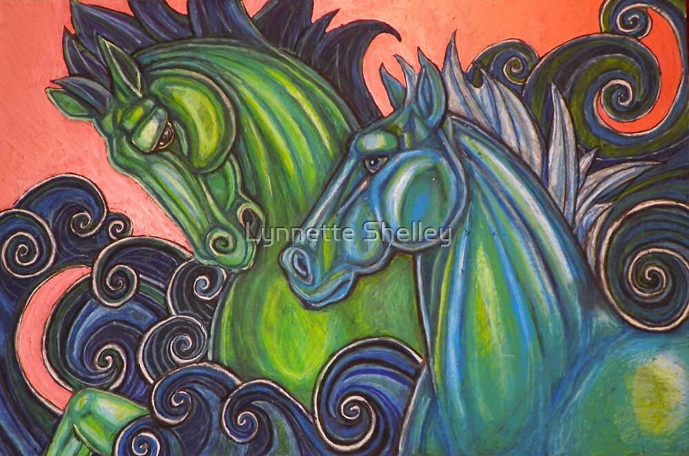 Swimming Horses (Hippocampi) by Lynnette Shelley