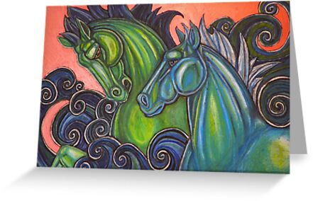 Swimming Horses (Hippocampi) by Lynnette Shelley