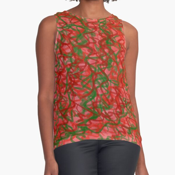 red and green squiggles Sleeveless Top