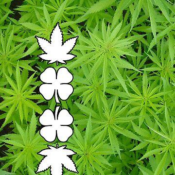 Marijuana Clovers Over Cannabis Plants by GrassPass