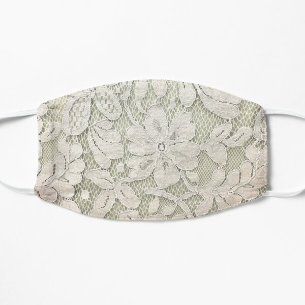 bohemian floral french country ivory beige lace Flat Mask