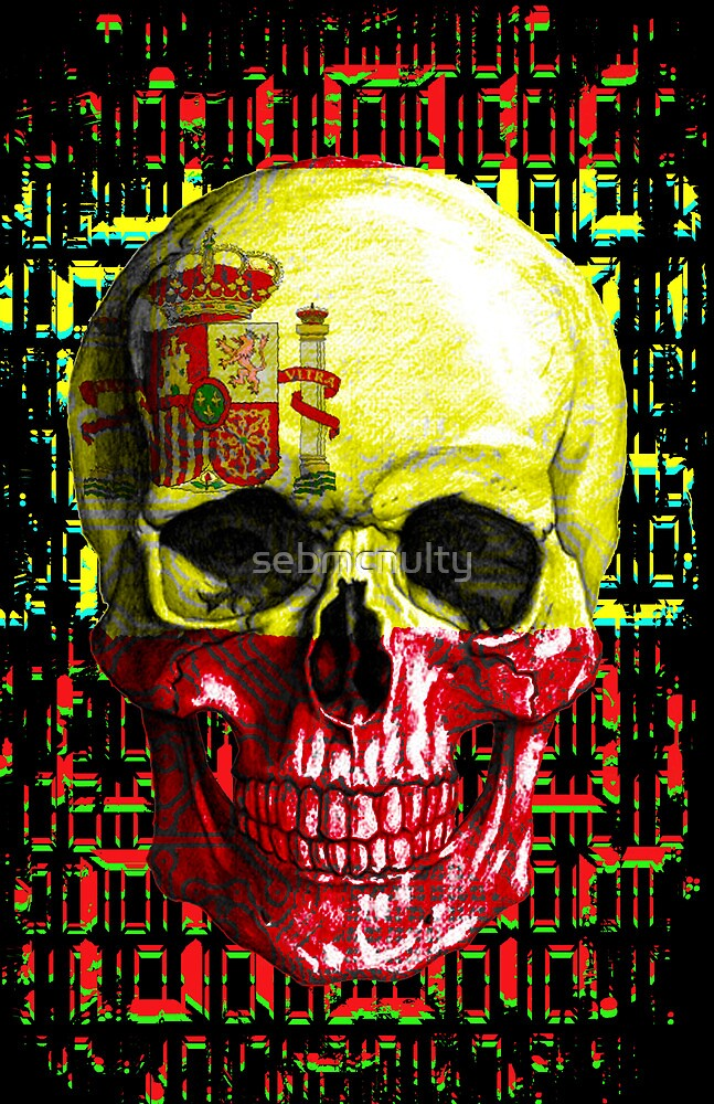 digital Skull (flag of spain) by sebmcnulty
