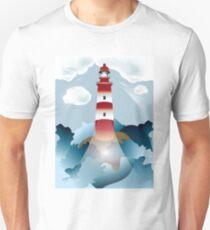 Lighthouse lights on over the unsteady sea Unisex T-Shirt