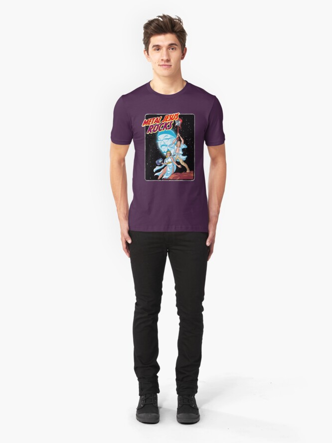 Alternate view of Metal Jesus Rocks - Galaxy Far Away Slim Fit T-Shirt
